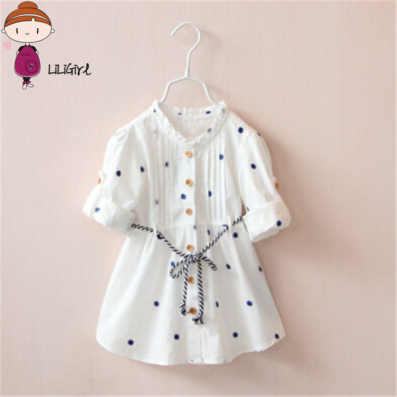 2019 New Designer Dress Vår og Høst Barn Girls White Flower Cheery Broderi Cotton Girl Shirt Halskjede