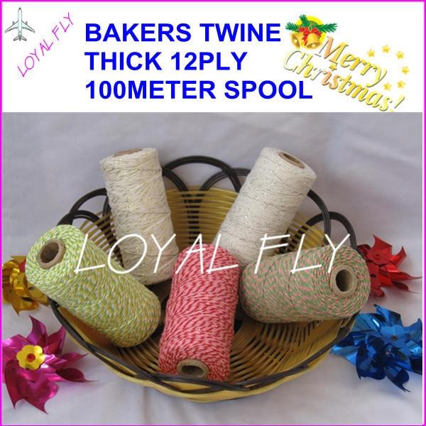 25pcs / lot algodón panaderos cordel 12ply grueso, 100 m / carrete, - Para fiestas y celebraciones - foto 2