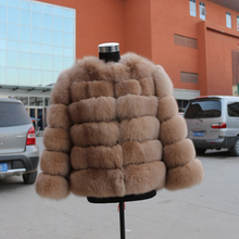 Russian Style detachable Fox Fur Jacket / Woman's Winter real Short fox Fur Coats For Girls