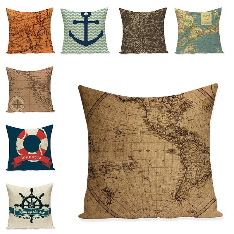 Sea Anchor Boat Cushion Cover Art Decorative Pillow Case Sofa Throw Pillowcase Car Seat Accessories Home Decor Mom Gift 45x45cm