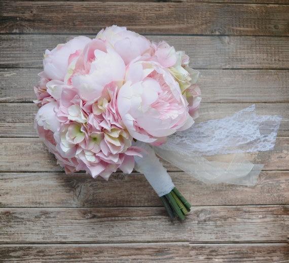 Blush Pink Peony and Hydrangea Wedding Bouquet peonies ramos de ...