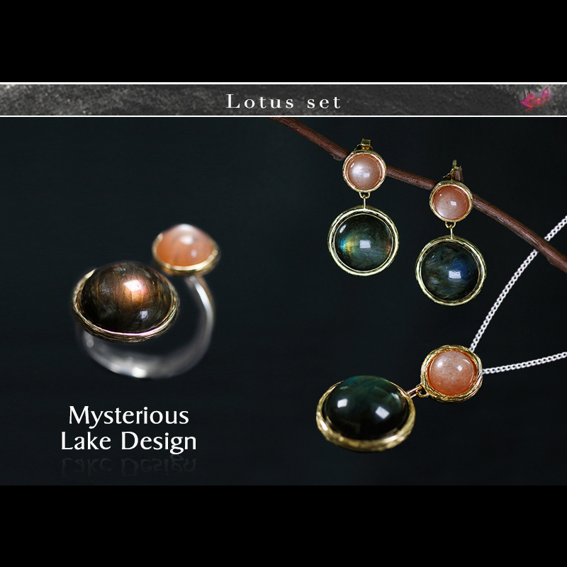 Lotus Fun Real 925 Sterling Silver Natural Handmade Fine Jewelry Mysterious lake Jewelry Set with Ring Earring Pendant Necklace 2 3mm red natural agate necklace multi layers 925 sterling silver with real pearl fine womne jewelry wedding party necklace