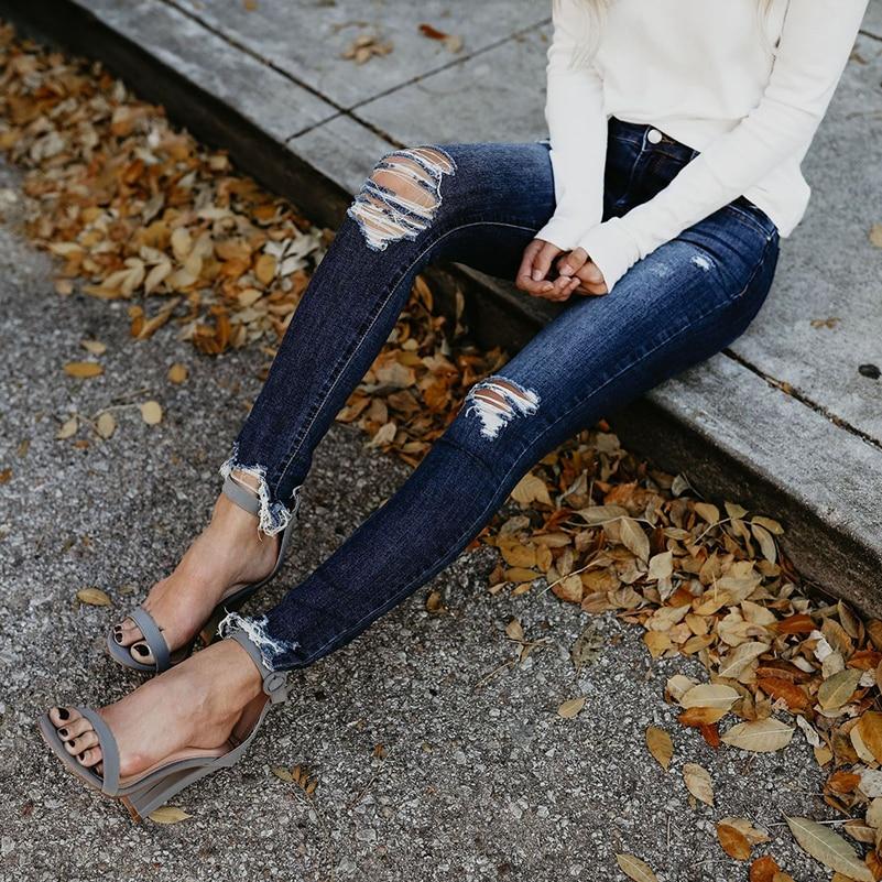 2018 Ripped   Jeans   Women Slim High Waist Boyfriend   Jeans   Cotton Summer Autumn Casual Streetwear Denim Pencil Long Pants Skinny