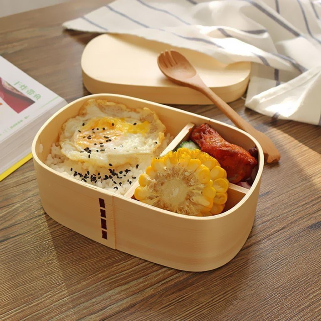 Wooden Bento Box Lunch Sushi <font><b>Food</b></font> Storage School Picnic Meal Box New