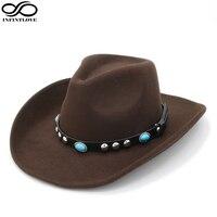 INFINITLOVE Unisex Wool Felt Vintage Turquoise Leather Ribbon Hondo Crown Anallergisch Adjustable Strap Cowboy Western Jazz