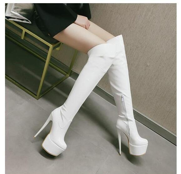 2018 au-dessus du genou bottes femmes Zip cuir verni chaussures hiver automne femmes talons hauts 15.5 CM voiture Show modèle chaussures blanc rouge