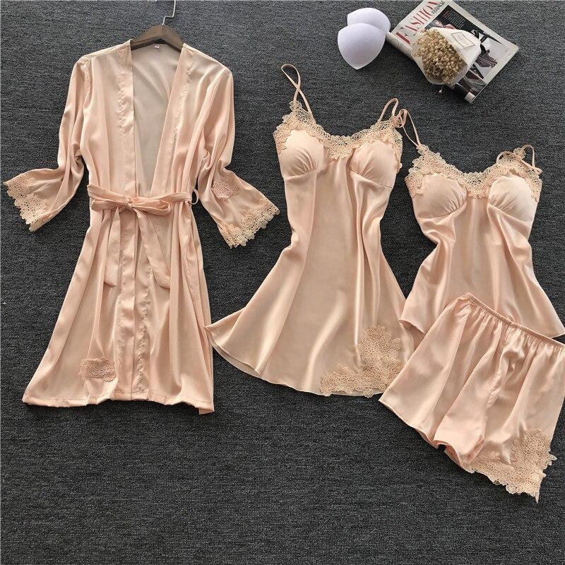 Fdfklak nouveau pyjama en satin de soie femmes printemps vêtements de nuit pour enfants pijama sexy 4 pièces pyjama ensemble femmes vêtements de nuit pyjama femme