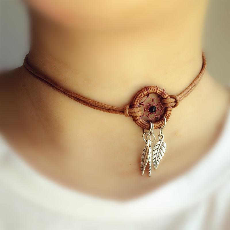 Short Chocker Necklace Handmade Dream Catcher Necklace With Alloy Feather Pendant Best Gift For Her Free Shipping