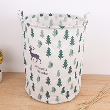 Fashion Canvas Laundry Basket Storage Bucket for Dirty Clothes Waterproof Folding Toys Sundries Organizer