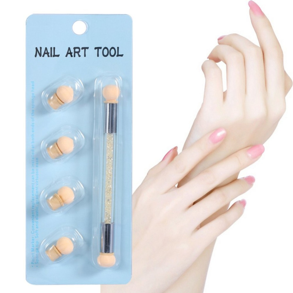 1 Set Dual ended Dotting Sponge Blooming Nail Pen UV Led Nail Polish Drawing Nail Polish Professional Manicure Tool drop ship in Nail Files Buffers from Beauty Health