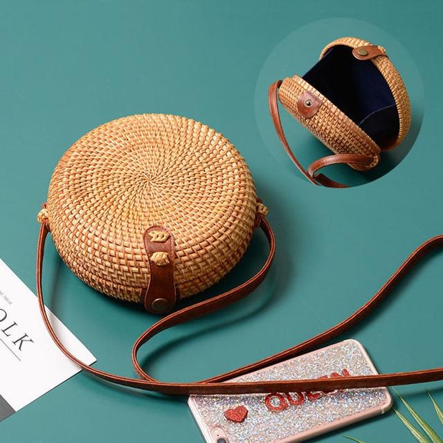 Vintage Handmade Women Rattan Bag Straw Woven Shoulder Bags Bow Holiday Beach Bohemia Crossbody Messengers Handbag round bolsa 1
