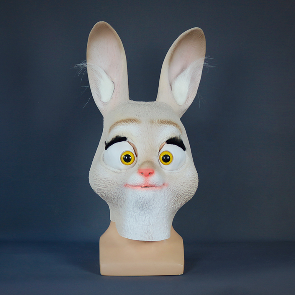 Rabbit Mask Cosplay Zootopia Judy Hopps Latex Mask Judy Hopps Helmet Judy Hopps Halloween Costume Prop Accessories