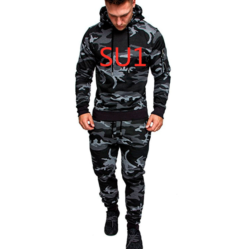 SU1 Men Spring Camouflage Sportswear Hoodies Set Suit Clothes Sweatshirts Male Army Green Jackets Tracksuits Plus Size MotoBiker
