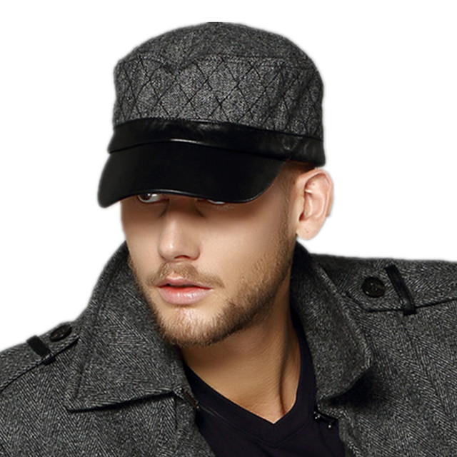 4f2034ed6dd Free Shipping Kenmont brand Men Outdoor Flat Top Wool Military Army  Baseball Cap Sun Hats Goatskin Genuine Leather Visors 0571