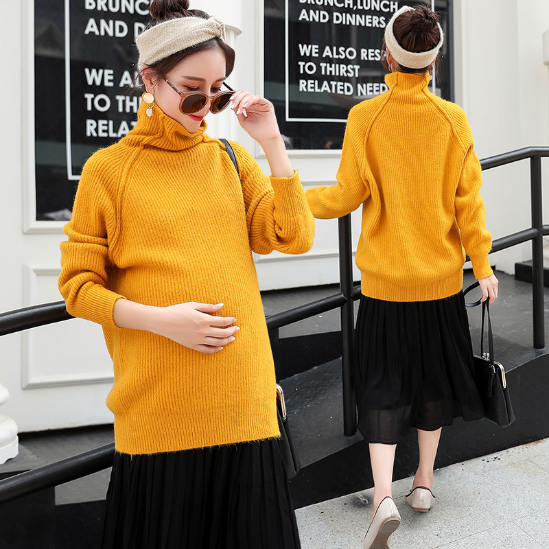 Winter Autumn Turtleneck Soft Warm Knitted Maternity Sweater Maternity Clothes Sweater Women Loose Clothes H290 ryeon winter autumn sweater dresses big size women turtleneck long sleeve loose casual grey sexy pullover knitted sweater jumper