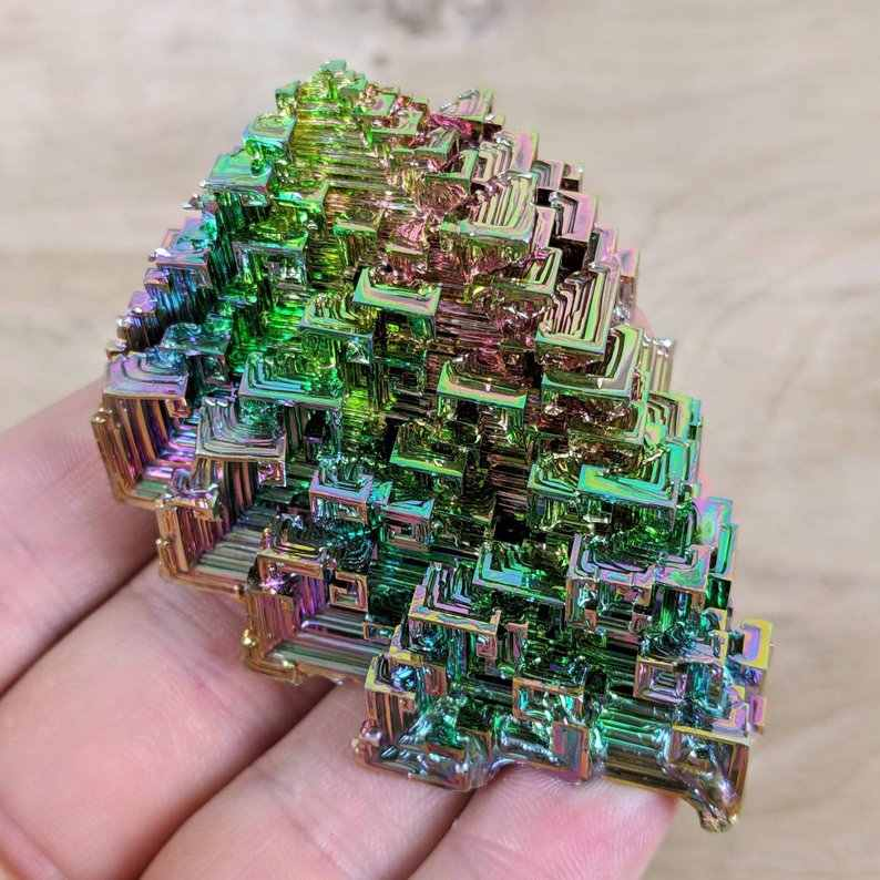 Rainbow Bismuth Crystal Display Mineral Specimen Education Teaching Metaphysical Therapy Reiki Metal Healing