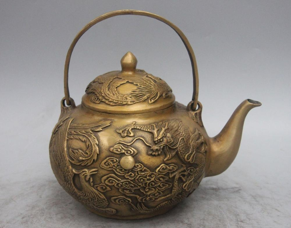 Chinese Royal Bronze Copper Dragon Phoenix Play Bead Wine Tea Pot Flagon teapot