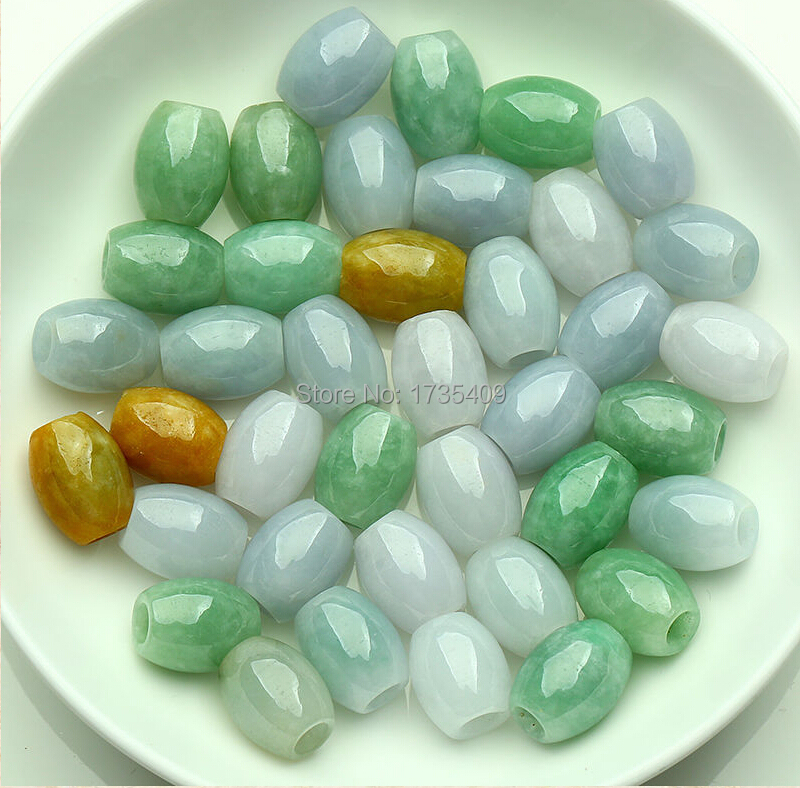 Wholesale 10pcs Rich Green Chinese 100% Natural /Jadeite Lucky Loose Beads