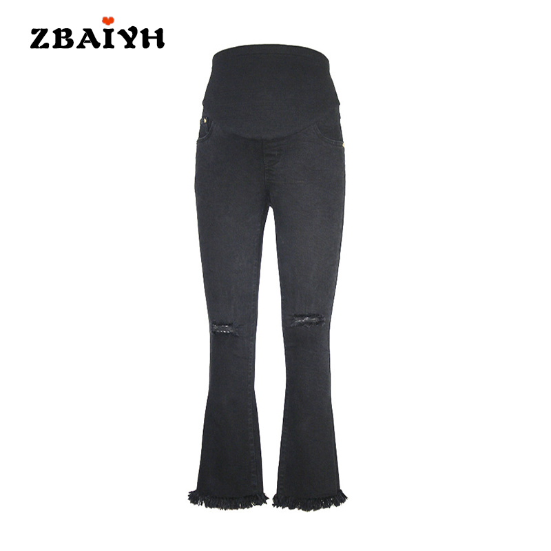 Maternity pants black hole skinny ripped jeans woman pregnancy pant summer fashion pregnant women clothing Flares pants AYF-K008 fashion embroidered flares jeans with embroidery ripped jeans for women jeans with lace sexy skinny jeans pencil pants pp42 z30