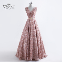 2017 New Fashion Robe De Soiree Long Prom Dresses Sexy V Neck 3D Floral Flower Gold