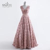 2017 de Moda de Nova Robe de Soirée Prom Vestidos Longos Sexy V pescoço Floral 3D Da Flor do Ouro Sash Vestidos de Festa Formal Vestido de Noite