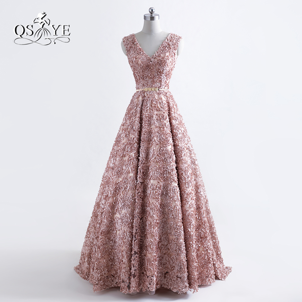 2018 New Fashion Robe de Soiree Long   Prom     Dresses   Sexy V Neck 3D Floral Flower Gold Sash Formal Evening   Dress   Party Gowns