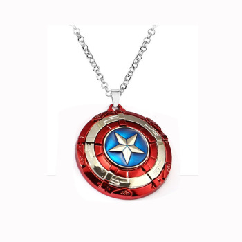 Captain America A Shield necklace rotatable Avengers Infinity War Metal Pendant Link Chain Charm Gifts Movie Jewelry Thonas