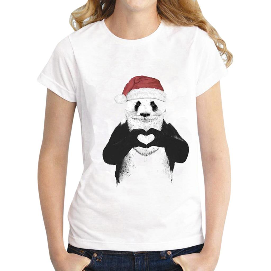 Summer women's casual T-shirt top 2020 ladies fashion panda print round neck short-sleeved shirt 2020 new camiseta mujer verano