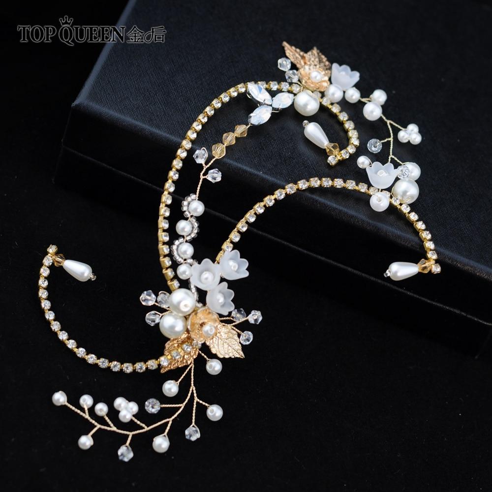 TOPQUEEN Bridal Hair Jewelry Resin Flower Wedding Headband Handmade Golden Diamon Chain Wedding Hair Accessories HP139