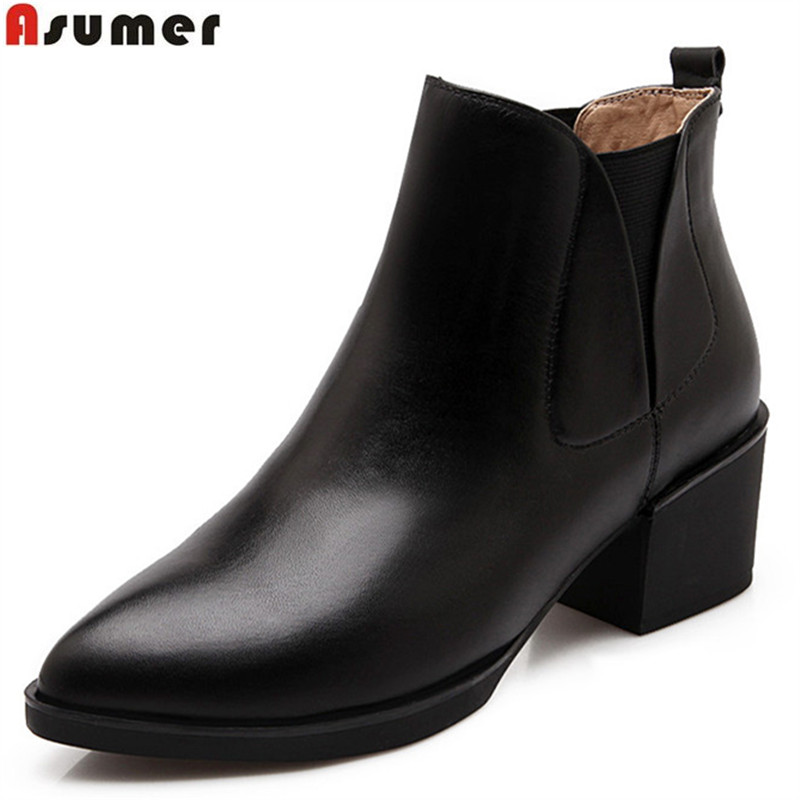 Asumer fashion genuine leather new arrive women boots black pointed square heel ankle boots cow leather autumn winter boots asumer black white fashion new women boots pointed toe genuine leather boots zipper cow leather ankle boots low heel shoes