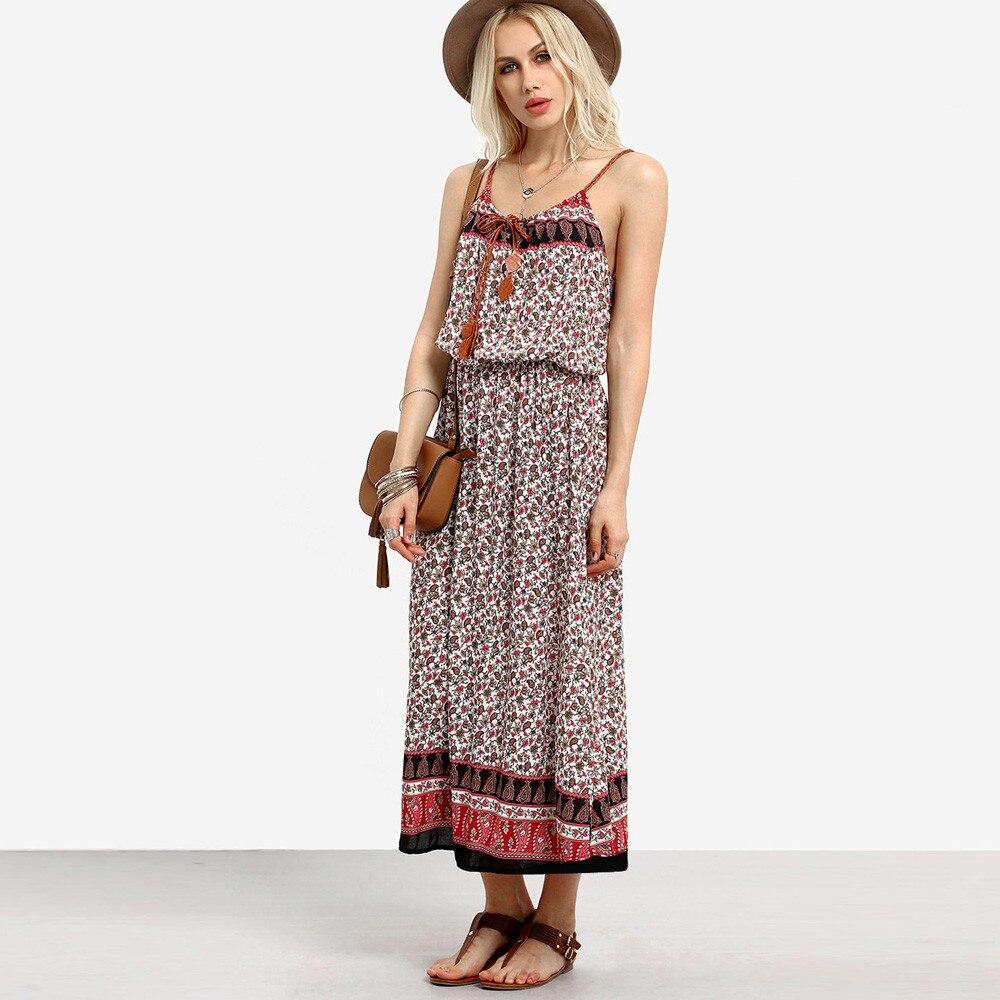 2016 nouvelle arrivée sexy sans manches imprimé floral vintage dress femmes d'été de boho longue dress plage dress robe vestidos