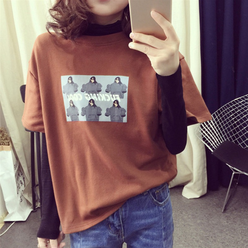 New Women Clothes 2019 T shirt women Korean Style Fashion Women Cartoon Printed T Shirt Casual Loose Half Sleeve Tops Tee in T Shirts from Women 39 s Clothing