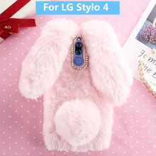 Plush Bunny Case for LG Stylo 4 Soft Fur Cute 3D Rabbit Ears TPU Diamond Phone Cover