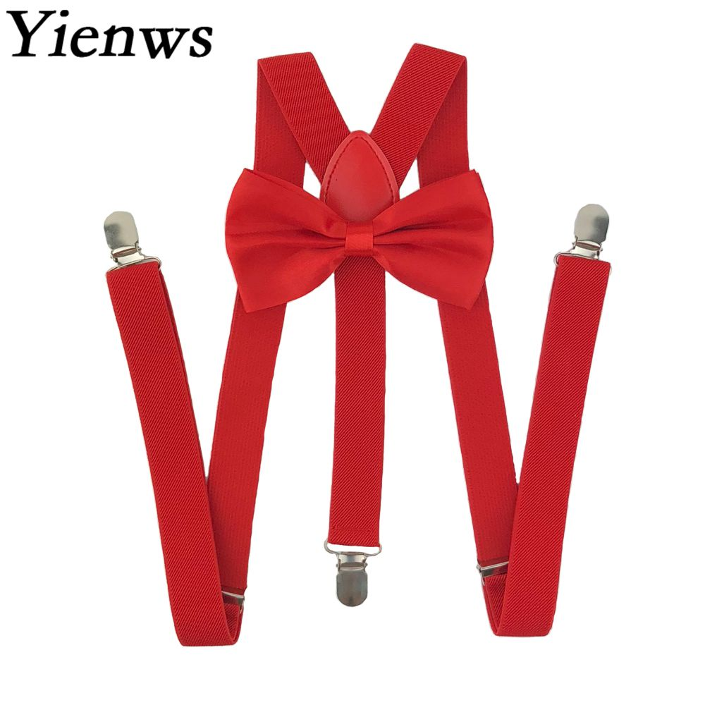 Burgundy Red Velvet Rose Gold Leather Bow tie Suspenders Baces for  All ages