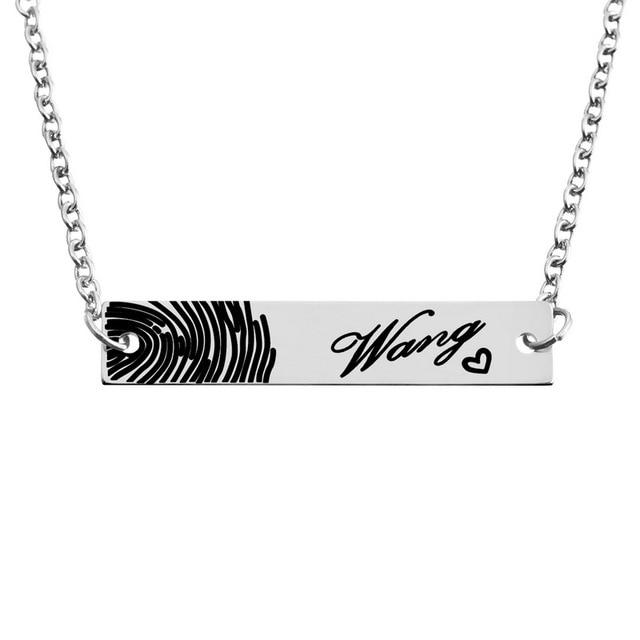 b95baf2e49a1 LASPERAL 1 unid Acero inoxidable rectángulo colgante collar tallado  personalizado huella digital corazón mujeres hombres joyería