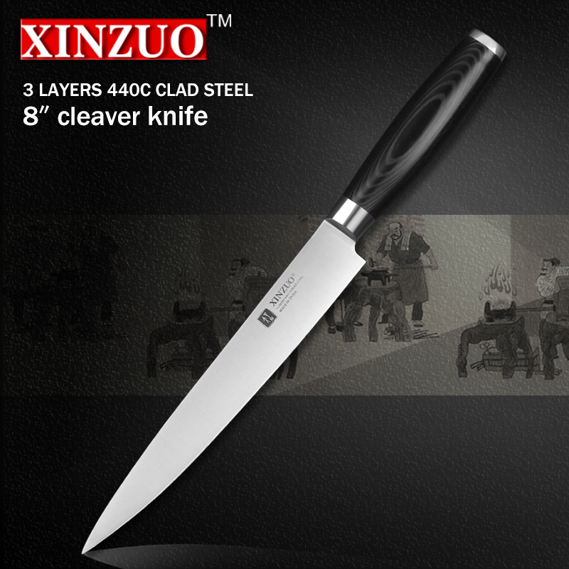 XINZUO 8 inch cleaver font b knife b font three layers 440C clad steel kitchen font
