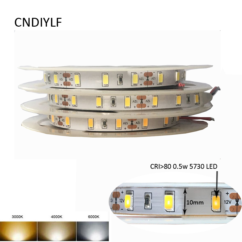 High Brightness 50-60lm/LED DC 12V  LED Strip 5730  Light Warm White, Cold White And White 5m/Roll   Fast Delivery
