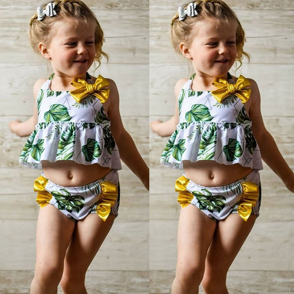 Ruffle Shorts Pants Swimsuit Beach Bathing Suit Set Little Toddler Baby Girl Floral Sleeveless Off Shoulder Top