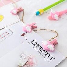 10шт розовый мини-дерево памятка бумага клипы любовь Сердце крыла деревянные Сообщение Фото ремесло украшения школьные принадлежности