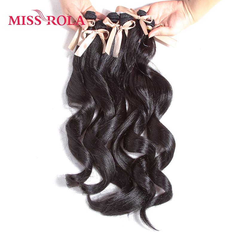 Miss Rola Long Wavy Wigs Women Synthetic Hair Extensions 6pcs One Pack Kanekalon Fiber Weave 17.5-19 inch Weaving #1B Color