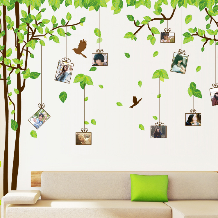 60 90cm 2 piece set Vinly Tree Photo Frame wall stickers for Home Room Bedroom Decors wall sticker Wallsticker for children kids in Wall Stickers from Home Garden