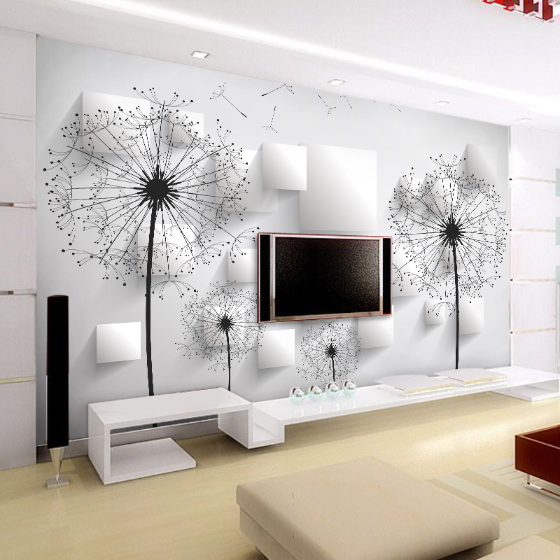 Custom Wall Cloth 3D Stereo Dandelion Lattice Modern Art Wall Painting Living Room TV Background Photo Wallpaper Wall Covering