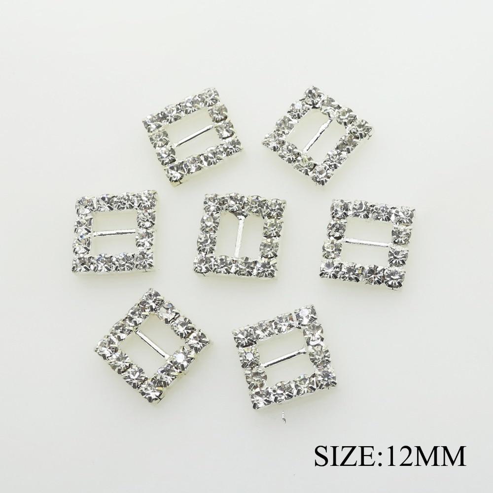 10pcs 14mm Square Crystal Buckles Ribbon Slider Wedding Embellishment Silver