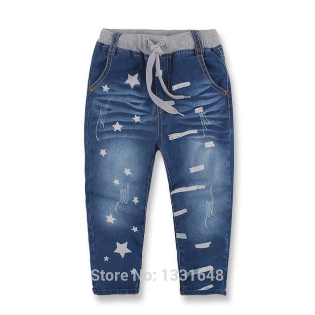 Высокое качество 2016 осенняя мода мальчиков джинсы дети джинсовые брюки звезды печатные дети брюки 3-8 лет