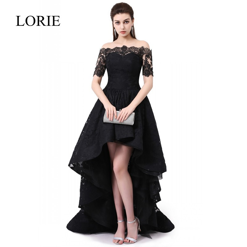 Vintage Black Lace Evening Dress 2017 LORIE Boat Neck