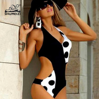 2018 New Swimsuit Black Dot Patchwork One Piece Swimsuit Women High Cut Out Monokini Swim Suits
