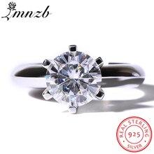 Купить с кэшбэком LMNZB Brand Female White Solitaire Ring 1.5ct AAAAA Zircon CZ 925 Sterling Silver Engagement Wedding Band Ring for Women LR12102