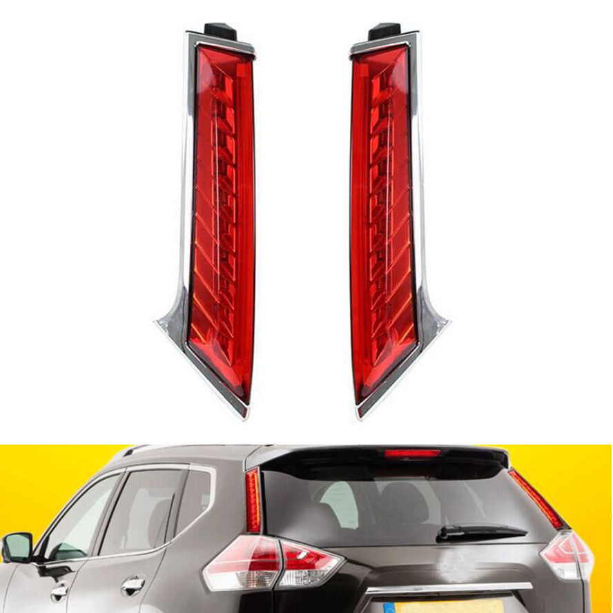 Pair Car Rear Window Decoration Lamp Led Tail Brake Light Fit for Nissan Rogue X-Trail 2014-2015 car rear trunk security shield shade cargo cover for nissan x trail xtrail rogue 2014 2015 2016 2017 black beige
