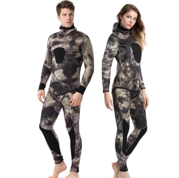 Дайвинг костюм 3-5 мм Камуфляжный рыболовный костюм и два комплекта серфинг, Ныряние костюм для мужчин и женщин Бесплатный Дайвинг костюм