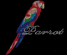 FS Colorful parrot applique patches iron on transfer rhinestone designs hot fix motif